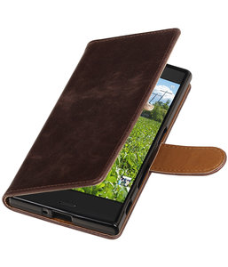 Mocca Pull-Up PU booktype wallet cover hoesje voor Sony Xperia XZ