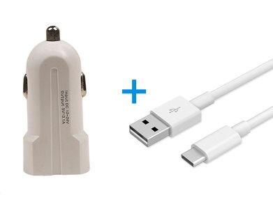 Type C USB Telefoon Autolader en Kabel Wit